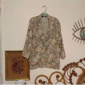 Vintage watercolor floral blazer